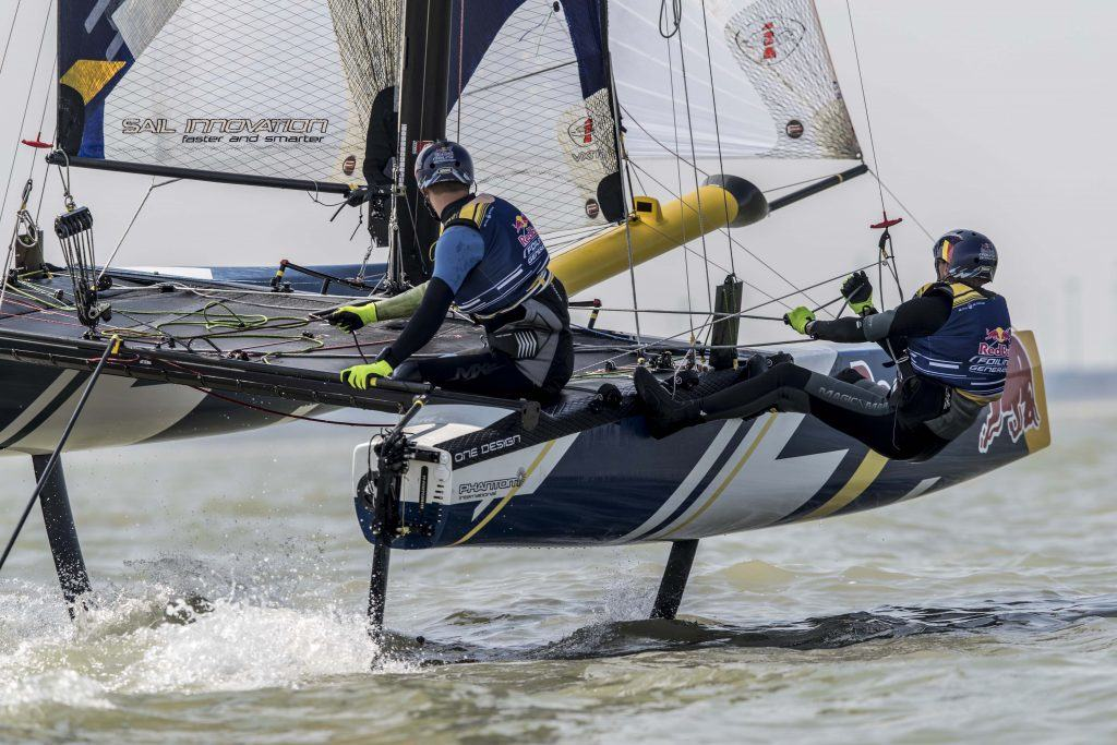 Foiling Generation is seen during a training session in Knokke-Heist, Belgium on August 18, 2016. // Jasper van Staveren / Red Bull Content Pool // P-20160818-00661 // Usage for editorial use only // Please go to www.redbullcontentpool.com for further information. //